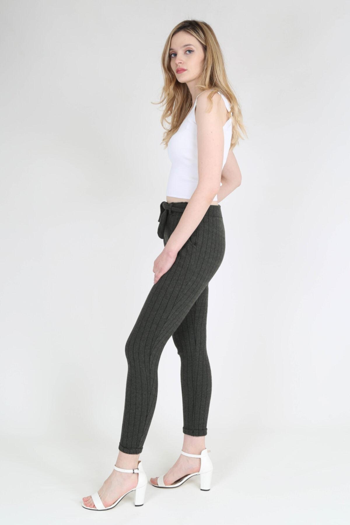 rubbyrush Kadın Haki Çizgili Pantolon Rb0133 2