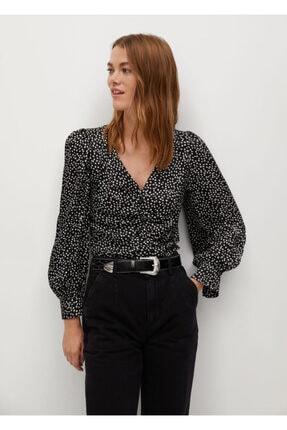 MANGO Woman Kadın Siyah Drape Detaylı Desenli Bluz