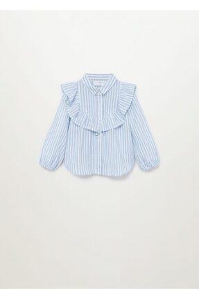 MANGO Baby Kız Bebek Beyaz Çizgili ve Fırfırlı Bluz