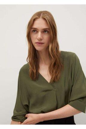 MANGO Woman Kadın Haki Renk Dökümlü Gömlek 77094420