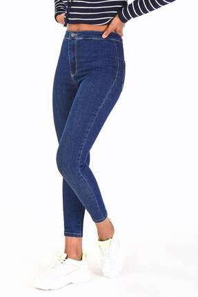 Addax Kadın Koyu Kot Rengi Yüksek Bel Pantolon Pn11178 - Pnu ADX-0000016107