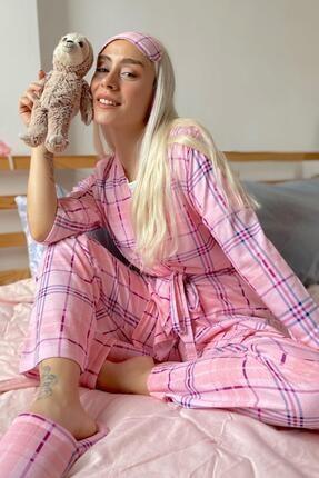 Pijamaevi Ekose Baskılı Sabahlıklı Pijama Takımı