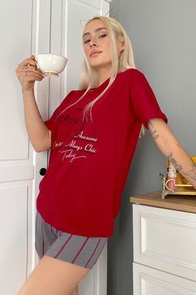 Pijamaevi Kadın Kırmızı Beauty Baskılı Şortlu Pijama Takımı