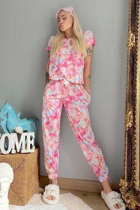 Pijamaevi Kadın Pembe Batik Örme Kısa Kol Kadın Pijama Takımı