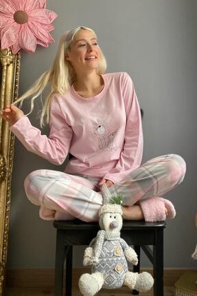 Pijamaevi Kadın Pembe Adventures Baskılı Uzun Kol Pijama Takımı