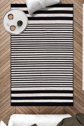 Caretta Home Çift Taraflı Siyah Beyaz Çizgili Dokuma Kilim