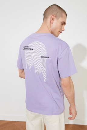 TRENDYOL MAN Lila Erkek Oversize Fit T-Shirt TMNSS20TS0990