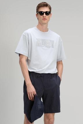 Lufian Bonn Modern Grafik T- Shirt Mavi