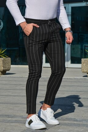 Terapi Men Erkek Slim Fit Çizgili Keten Pantolon 21k-2200389-01 Siyah
