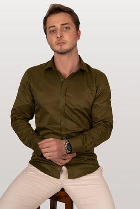 Etikmen Erkek Zeytin Yeşili Armür Desenli Slimfit Gömlek