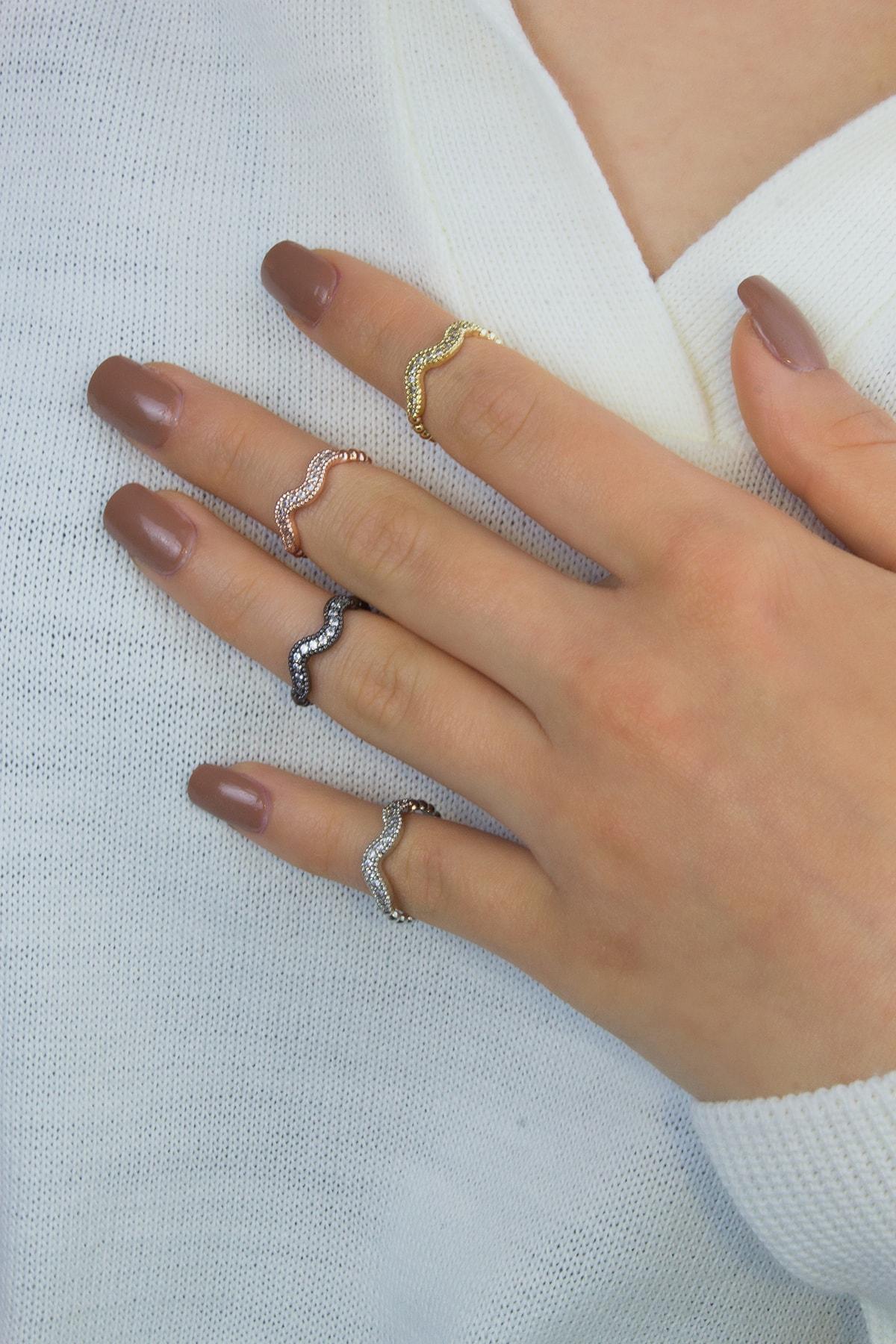 aydın takı Zirkon Taşlı Eklem Yüzüğü 4 Lü Set 1