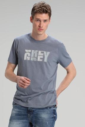 Lufian Bonn Modern Grafik T- Shirt Koyu Gri