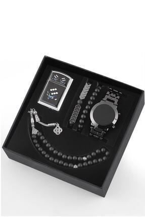 Ricardo Dijital Unisex Kol Saati Çakmak Tesbih Bileklik Seti