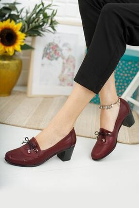 Diego Carlotti Kadın Bordo Hakiki Deri Klasik Topuklu Ayakkabı
