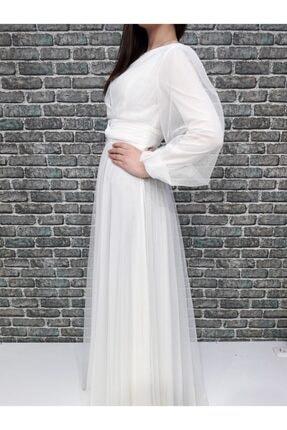 Loreen Ekru Balon Kol Tesettür Elbise