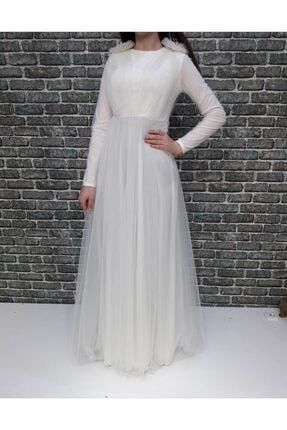 Loreen Beyaz Tüllü Tesettür Elbise