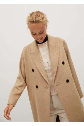 MANGO Woman Kadın Orta Kahverengi Düğmeli Yün Palto