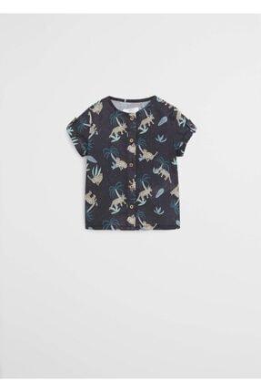 MANGO Baby Kız Çocuk Leopar Desenli Kısa Kollu Gömlek