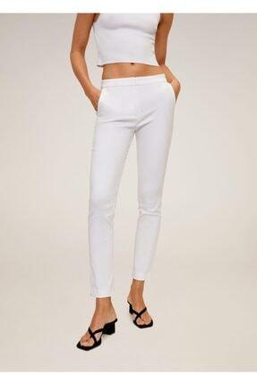 MANGO Woman Kadın Kırık Beyaz Kısa Paçalı Skinny Pantolon 67080514