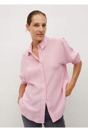 MANGO Woman Kadın Pembe Ipek Gömlek