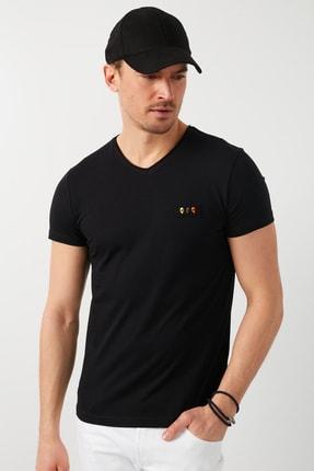 Buratti Erkek  Siyah V Yaka T Shirt T Shirt