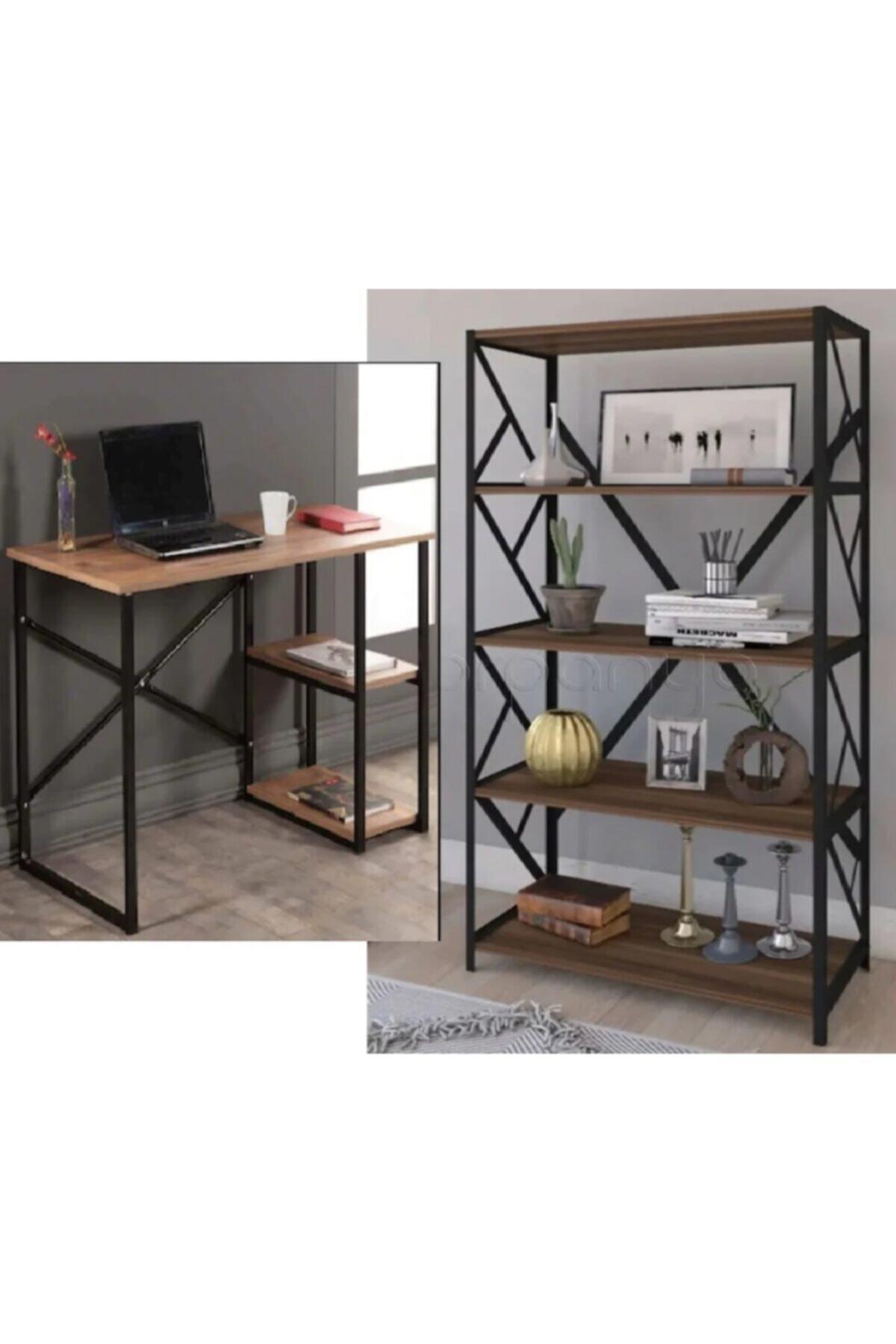 Larem Mobilya Bilgisayar Masası Ve 5 Raflı Metal Kitaplık Set Çalışma Masası Laptop Ofis Masası Ceviz 1
