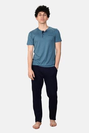 Malabadi Erkek Mavi 3 ' Lü Takım Yazlık Düğmeli Pijama Takımı 6001