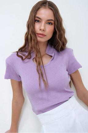 Trend Alaçatı Stili Kadın Lila Hakim Yaka Kaşkorse Crop Bluz ALC-X5882