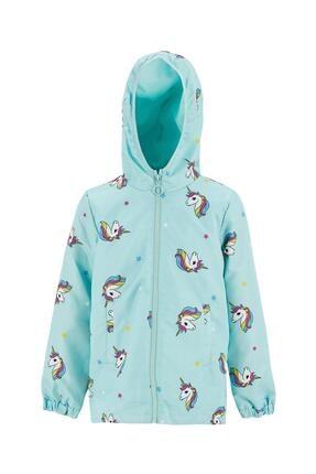 DeFacto Kız Çocuk Mint Unicorn Desenli Kapüşonlu İnce Yağmurluk