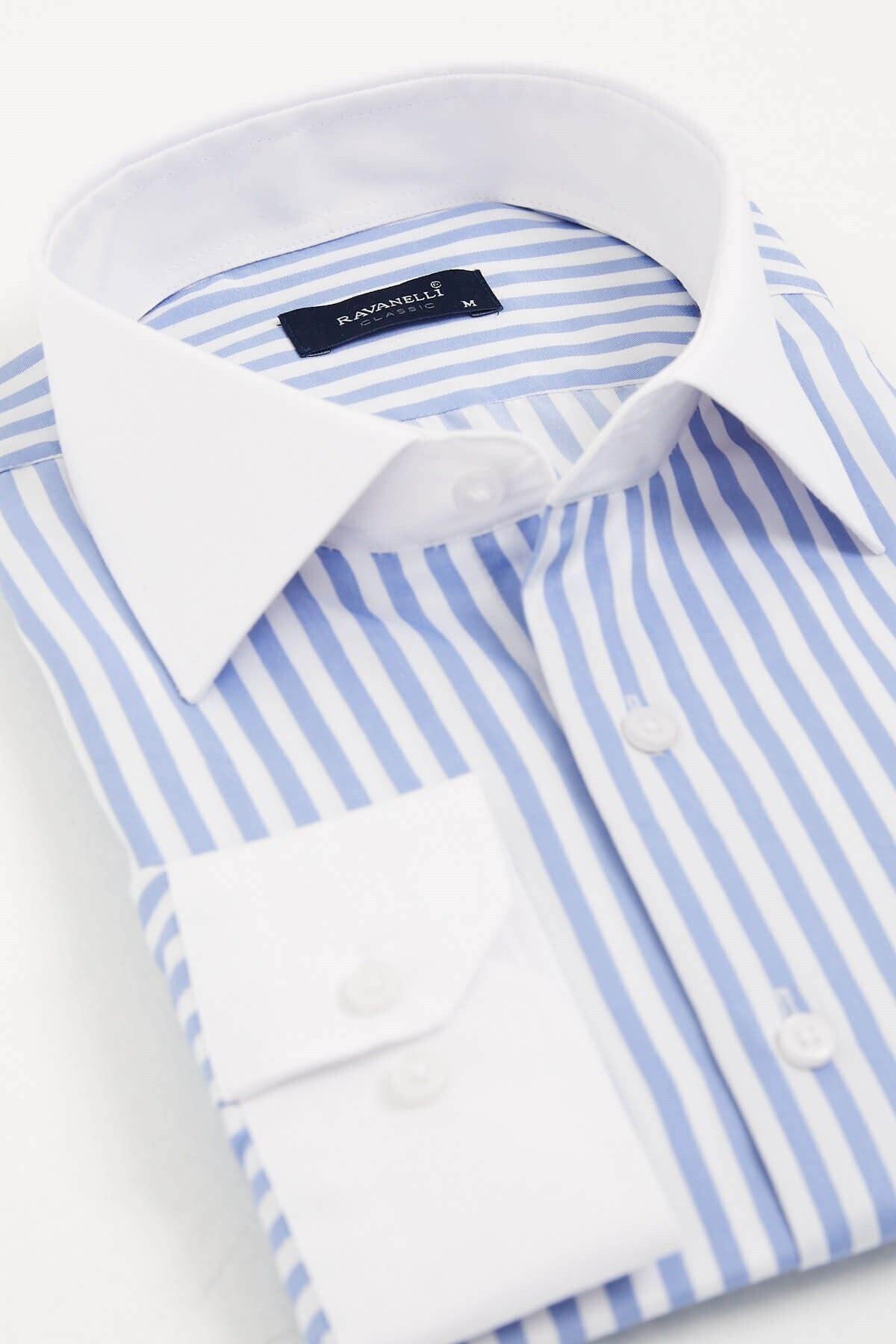 RAVANELLI Beyaz Yakalı Çizgili Klasik Gömlek 2