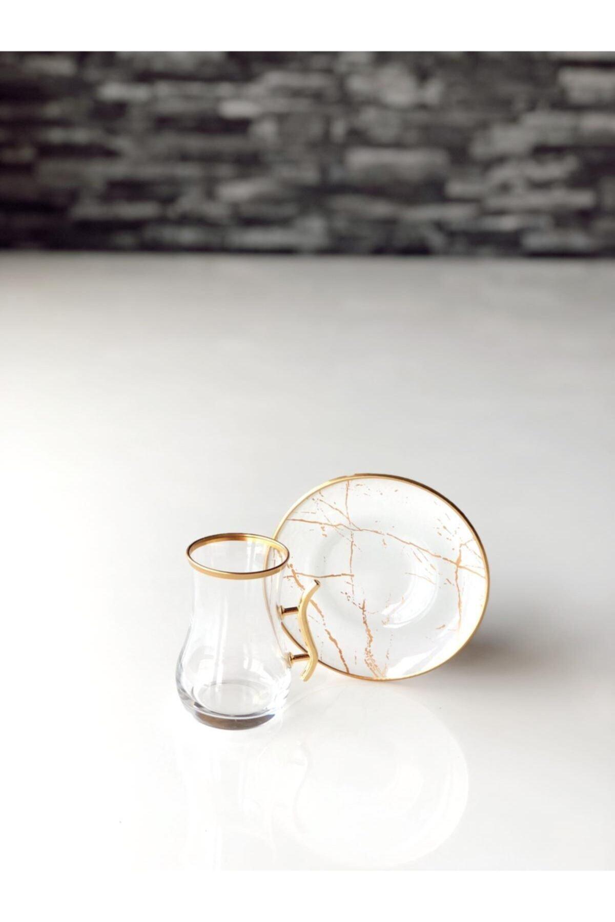 GÜRCÜGLASS Beyaz Mermer Kulplu 12 Prç Çay Seti 2