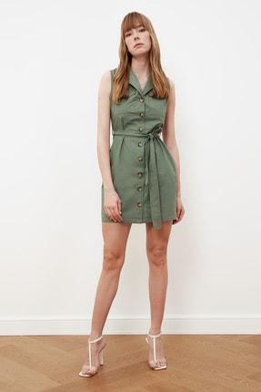 TRENDYOLMİLLA Haki Kuşaklı Düğmeli Elbise TWOSS21EL1285