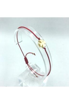 Tralles Takı Kırmızı Ipli Gold Yonca Şans Bilekliği