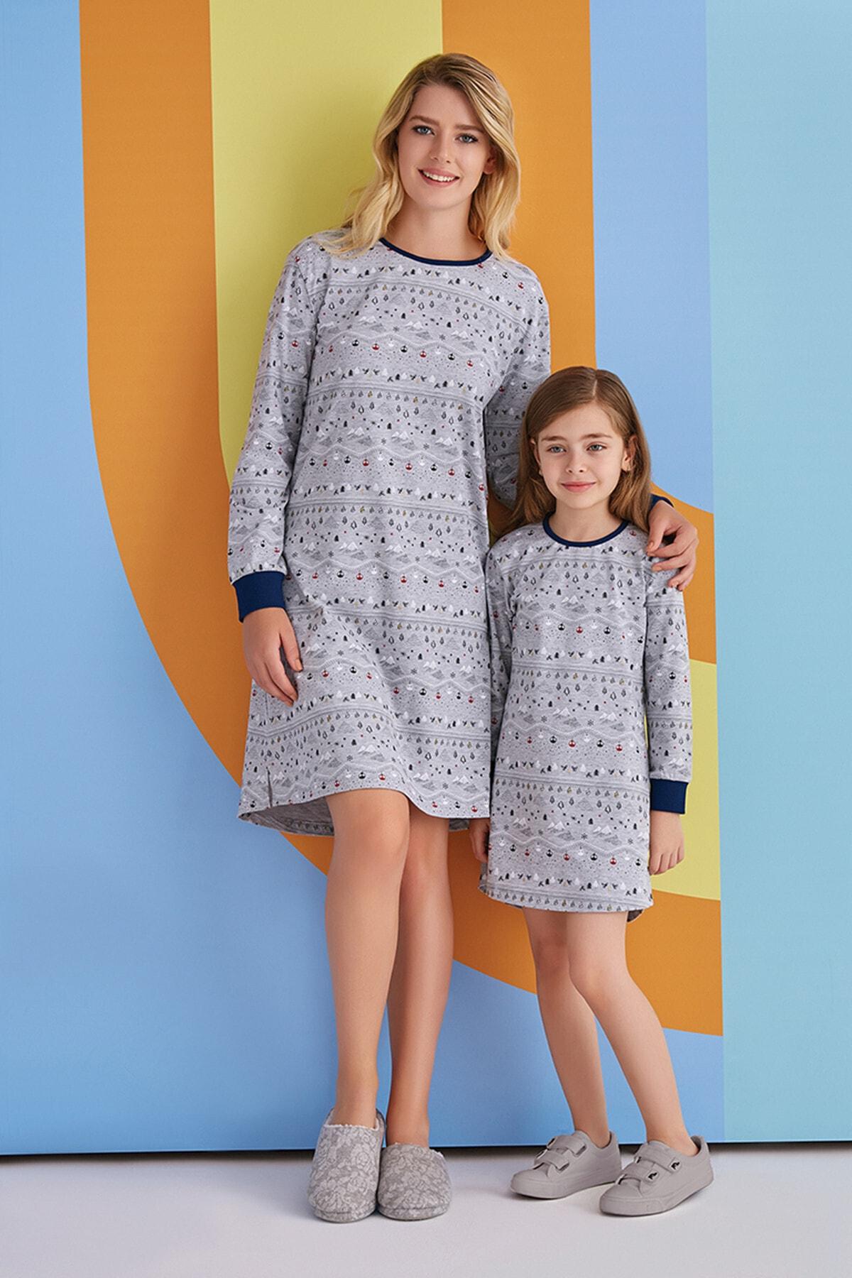 ROLY POLY Kadın Gri Renkli Desenli Gecelik Elbise Pijama 1361 2