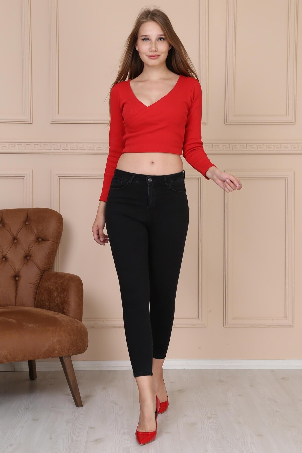 Modaca Kadın Gri Cepli Yüksek Bel Jean 1