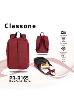 Classone Pr-r165 Roma Serisi 15,6 Inç Uyumlu Laptop Notebook Sırt Çantası-bordo