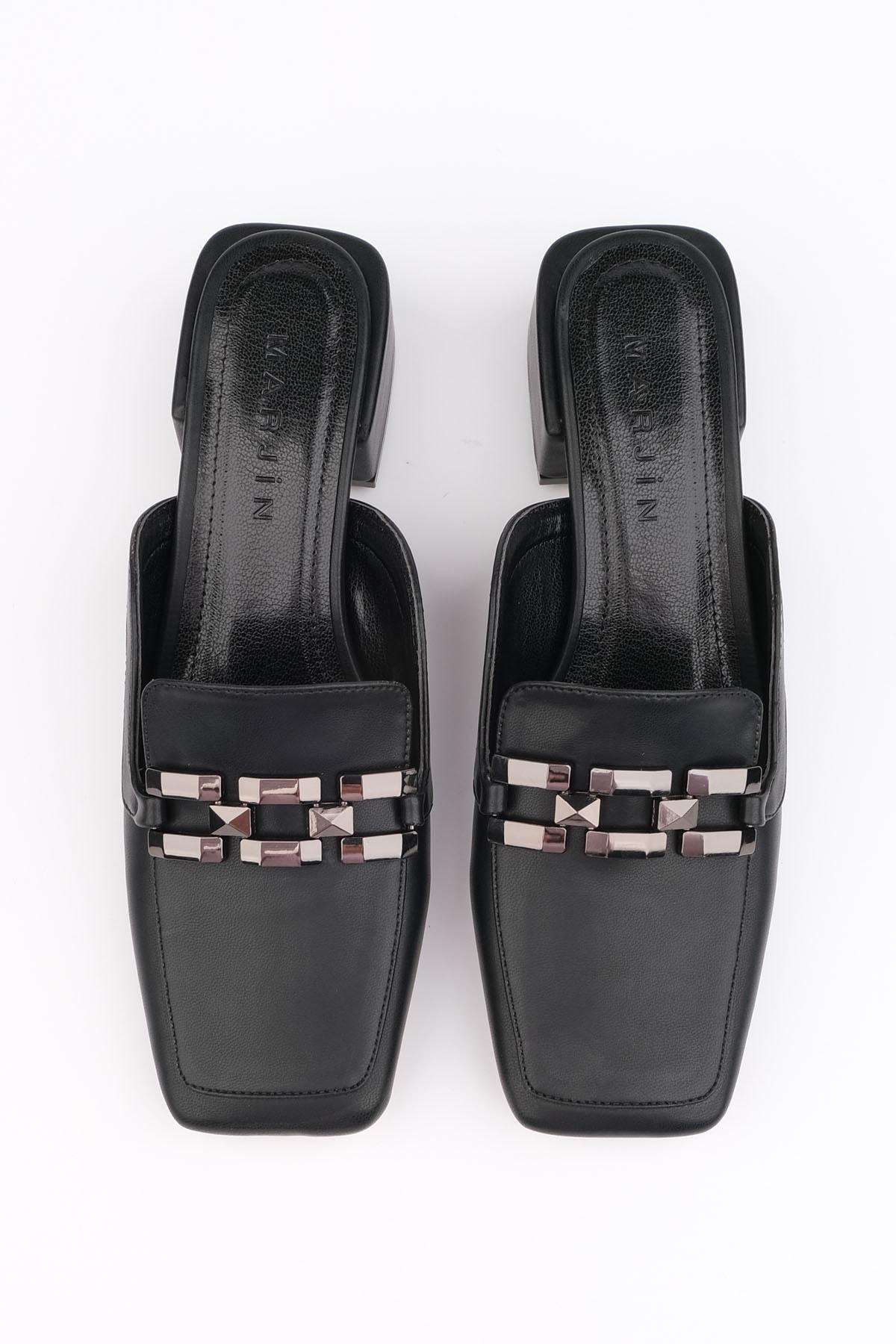 Marjin Kadın Siyah Topuklu Terlik Berma 1
