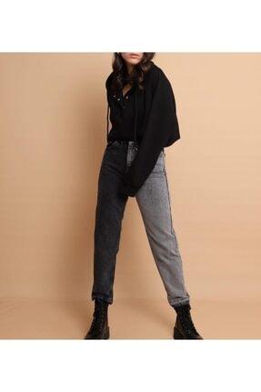 IŞILDA Kadın Gri Bloklu Mom Jeans
