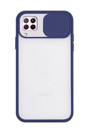 Penguen Huawei P40 Lite Uyumlu Buzlu Mat Kamera Lens Korumalı Sürgülü Silikon Kapak