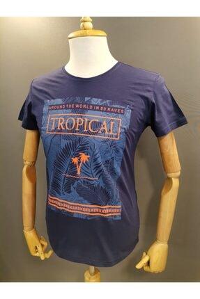 Lion Erkek Lacivert Baskılı Spor T-shirt 2700