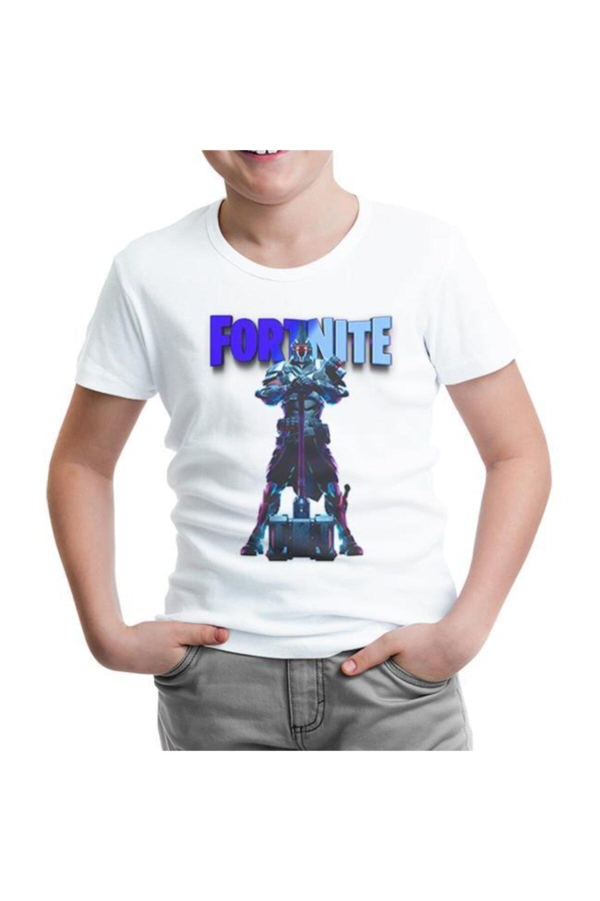 Lord T-Shirt Unisex Çocuk Beyaz Fortnite Ultima Knight Blue Tshirt 1