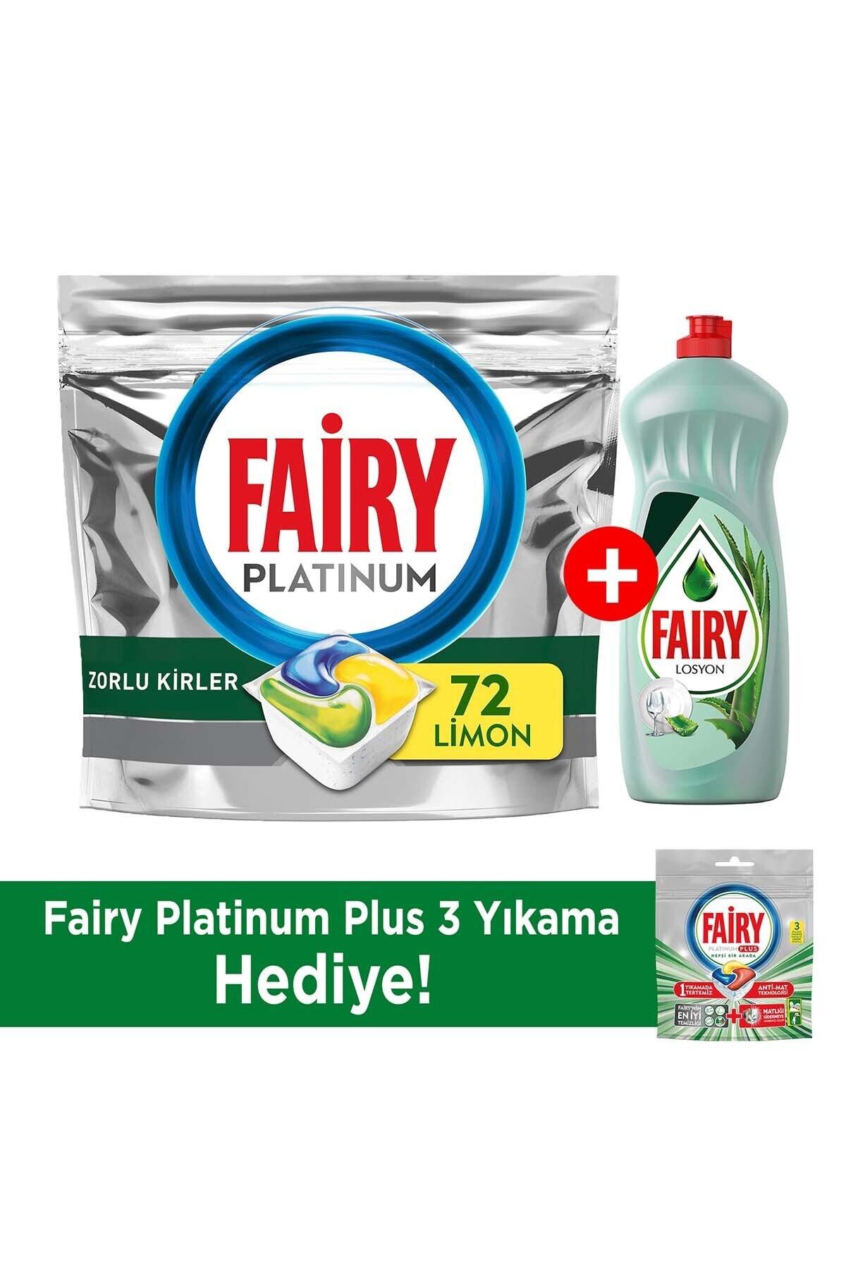 Fairy Platinum 72 Yıkama Bulaşık Makinesi Deterjanı Kapsülü + 750ml Losyon Bulaşık Deterjanı 1