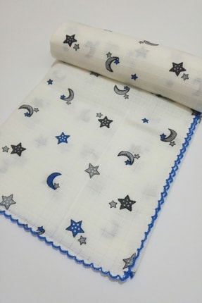 AyCaTa Çok Amaçlı Müslin Bezi Örtü Bebek Battaniyesi Ay Yıldızlı Beyaz-mavi 80x90 Cm 1 Adet