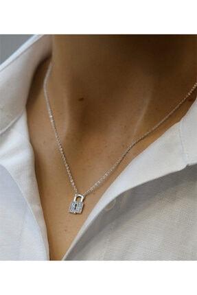 Marjin Kadın Zirkon Taşlı Kilit Figürlü Gümüş Renkli Kolyegümüş