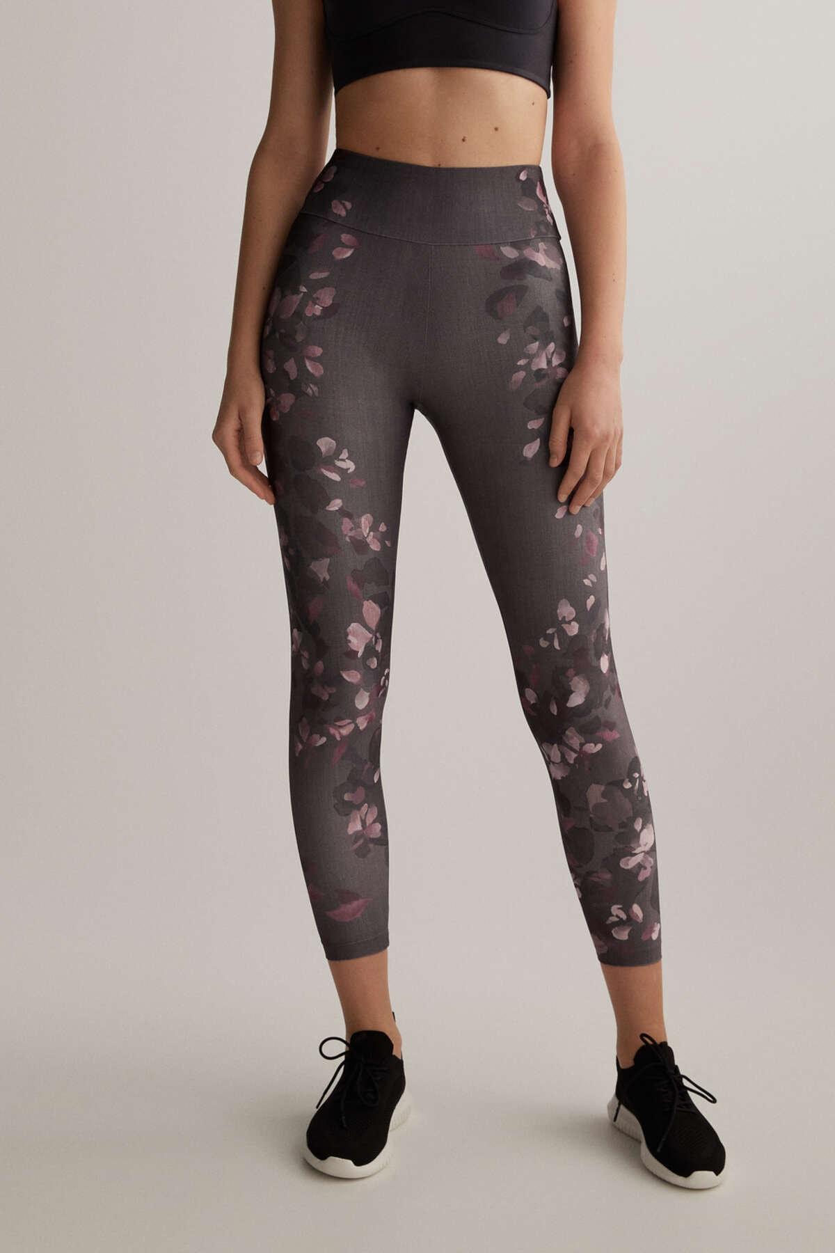 Oysho Kadın Gri Çiçek Desenli Leggings Tayt