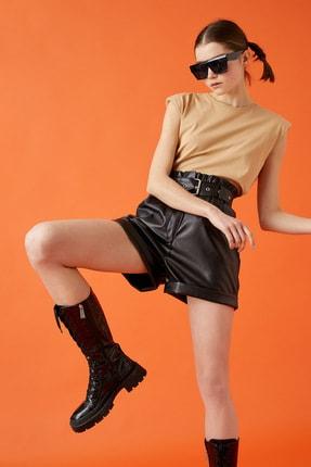 Koton Kadın Deve Tüyü T-Shirt 1YAL18542IK
