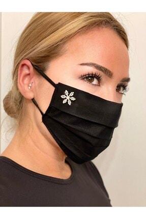 MaskeTrendi Siyah Taşlı Pamuklu Telli Çift Katlı Yıkanabilir Bez Maske