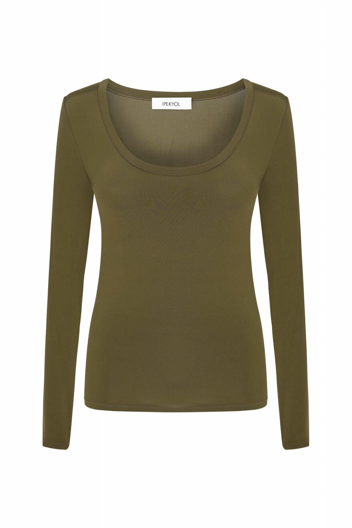 İpekyol Kadın Kahverengi Geniş Yaka Basic Bluz IW6200070050 1