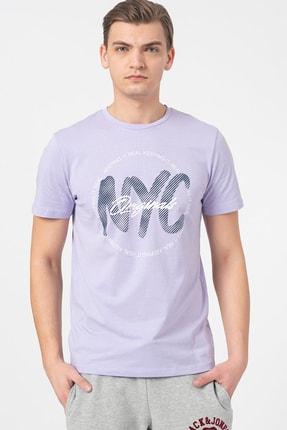 Jack & Jones Erkek Lila 0 Yaka T-Shirt