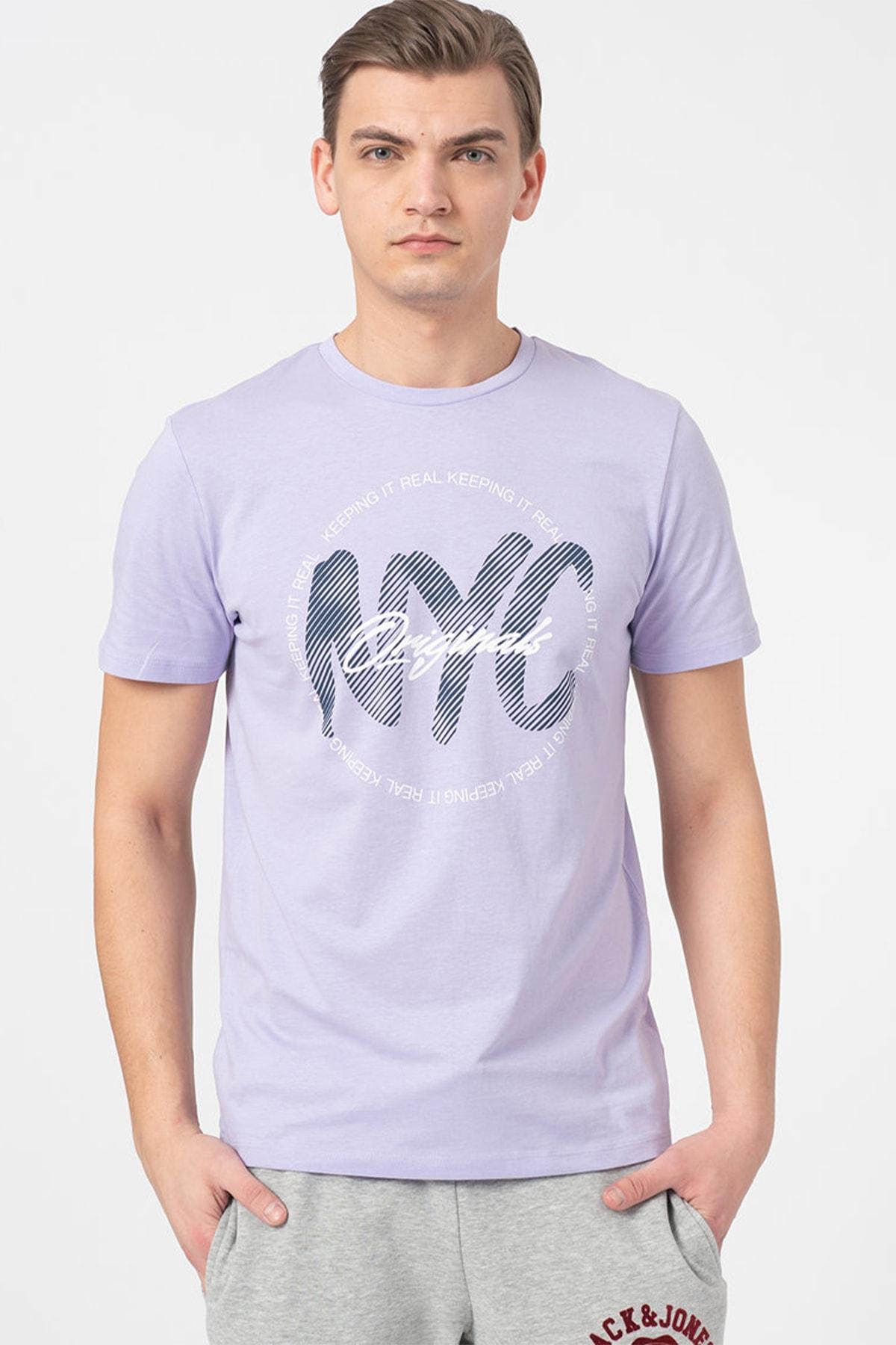 Jack & Jones Erkek Lila 0 Yaka T-Shirt 1